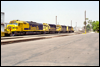 SDF40-2 5254 trails a pair of SD40-2s and an SD45-2 at San Bernardino, CA, 1990