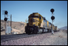 Westbound SD40 5004 splits the signals in Cajon Pass between Hesperia and Summit, CA, 1992