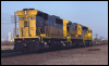 Light engines at Daggett, CA, with SD45-2B 5514 trailing in 1992